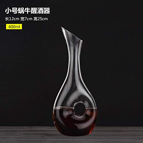 FeiKe Qualitätsweinkaraffe Design Snail Style Dekanter Rotweinkaraffe Bleifreie Glaskaraffe Superior Wine Aerator Wake Up Bottle, 400ML