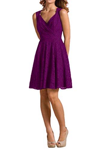 La_mia Braut Traube Spitze V-ausschnitt Abendkleider Brautjungfernkleider Partykleider A-linie Rock Violett
