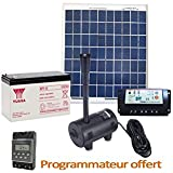 Kit pompe solaire 980L/h avec panneau solaire et batterie pour bassin et fontaine - Expédié depuis la France