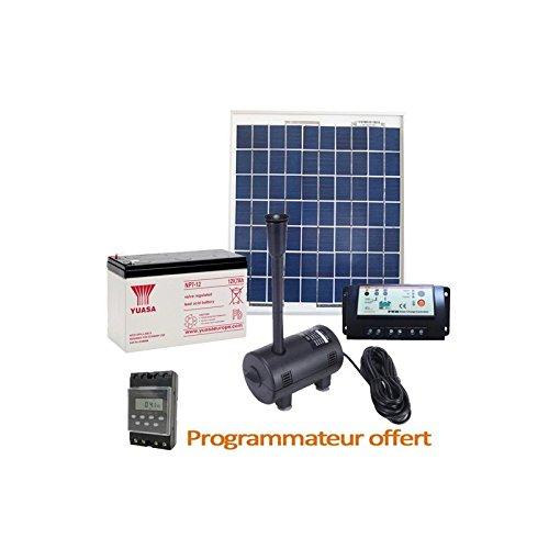 Kit Pompe Solaire 980L/h avec Panneau Solaire et Batterie pour Bassin et Fontaine