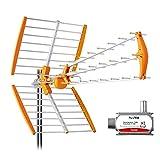 Tecatel - Antena Mandarine Triple Plegable UHF G=18 dB LTE + Filtro de Regalo