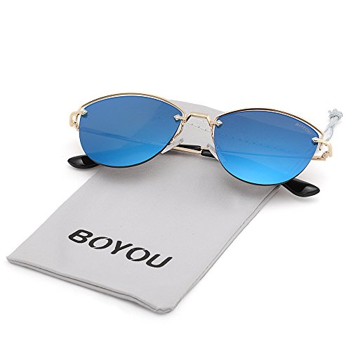 BOYOU Sonnebrille Fashion Mirrored Metal Frame Women Sunglasses Reflektierende Spiegel Objektiv