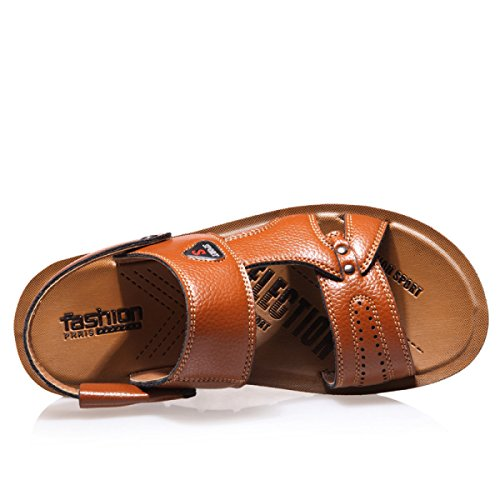 GRRONG Jeunes Occasionnels Casual » Hommes Sandales Hommes Non - Slip Sandalettes En Cuir Respirant Kaki