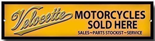 Plaque métal garage 'Velocette motorcycles sold here' qualité pas cher