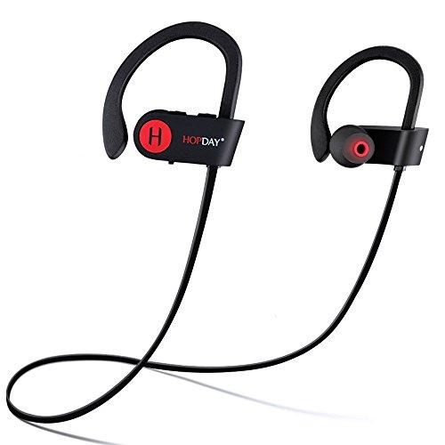 Hopday u8 cuffie bluetooth v4.1 wireless auricolari sportivi con built-in microfono, suono stereo, annullamento del rumore, ip68 cuffie impermeabili e sweatproof con gancio (negro)