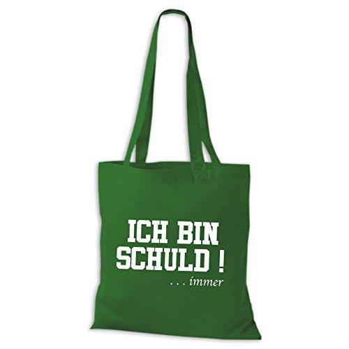 Baumwolltasche Jutebeutel ICH BIN SCHULD ... immer Sprüche Fun Spass Stoffbeutel Grün
