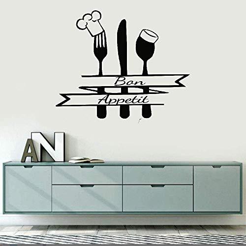 Wandtattoo Schlafzimmer Große Dekoration für Home Kitchen Französisch Bon Appetit Zitate Wohnzimmer Küche Besteck Kochmütze
