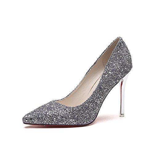 Hochzeit Heels Silberne (Die Schuhe High-Heel_silberne Spitze mit feinem Dining mit Lady Schuhe Hochzeit Schuhe Wilde einzelne Schuhe, Silber, 36)