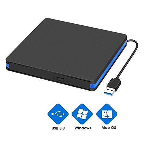 BlueFire CD DVD Laufwerk Externe, USB 3.0 Tragabar CD DVD Brenner Extern Kompatibel mit Windows 7/8/10 and Mac OS für Alle Laptops/Desktop
