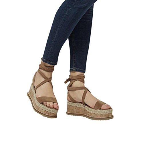 Uomogo® vintage sandali estivi scarpe con sandali donna, ragazze infradito scarpe basse aperte sandali da donna (cn:40, marrone)