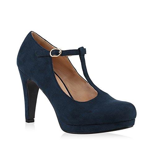 Stiefelparadies Damen Pumps T-Strap Spitze High Heels Riemchenpumps Stilettos Zierperlen Nieten Blockabsatz Schuhe 139749 Blau Schnalle 36 Flandell