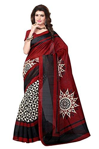 ShivGami Women\'s Printed Art Silk Sarees (SGSAREE-09_Multi-Coloured)