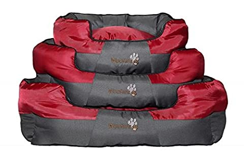 Woofers Boyne Dog Bed Medium, Red & Grey, Oval Shaped. Made From 600D Oxford Fabric. Oxford Fabric Makes It Durable And Water Resistant, Washable & Easy Clean. Medium (60 x 50 x 25 CM)