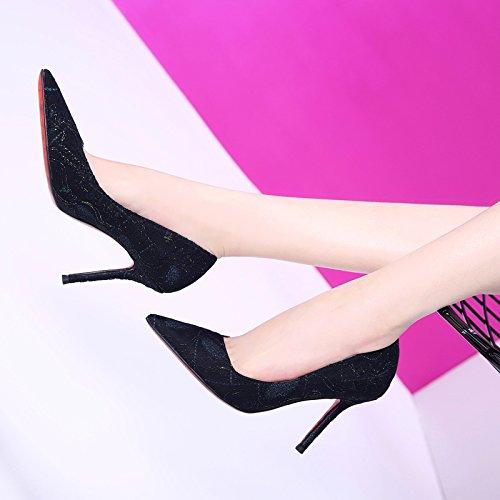 HGTYU-Pizzo Stampa Scarpe Da Donna Forte E 9.5Cm Scarpe Tacco Alto Giovane Ragazza Sola Scarpa In Primavera E In Autunno black