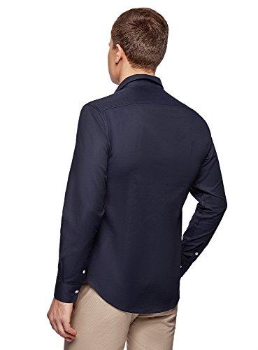 oodji Ultra Herren Langarm-Hemd Slim Fit Blau (7900N)