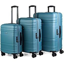 JASLEN - Juego Set 3 Maletas Trolley 55/66/76 cm ABS Texturizado. Rígidas, Resistentes y Ligeras. Mango telescópico, 2 Asas, 4 Ruedas. Candado TSA. Pequeña Low Cost 73100, Color Azul