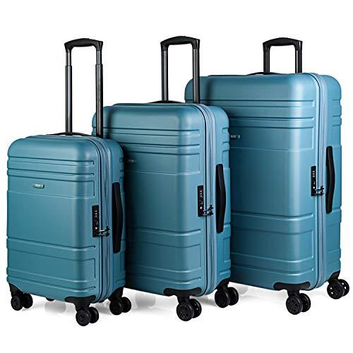 JASLEN - Juego de Maletas de Viaje Rígidas 4 Ruedas Trolley ABS. Resistentes Duraderas y Ligeras. Candado TSA. Pequeña Cabina Mediana y Grande XL 73100, Color Azul