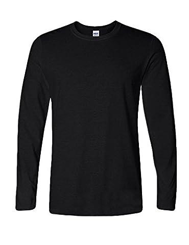 Legou Homme T-shirt Manches Longue Collet-rond Sport blouse Noir Large