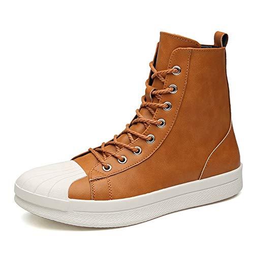 Herren-High-Top-Skates Komfortabel mit Anti-Rutsch-Anti-Horizontal-Boots und Ankle-Boots mit rundem Kopf,Grille Schuhe (Color : Khaki, Größe : 38 EU) -
