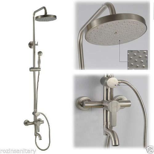 New Nickel gebürstet Regen Duschbad Wasserhahn Set + Handbrause + 8