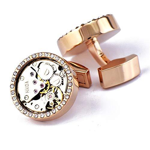 AdorabCufflinks Oro Rosa Movimiento de Reloj de Diamantes Reloj mecánico Gemelos Mangas...