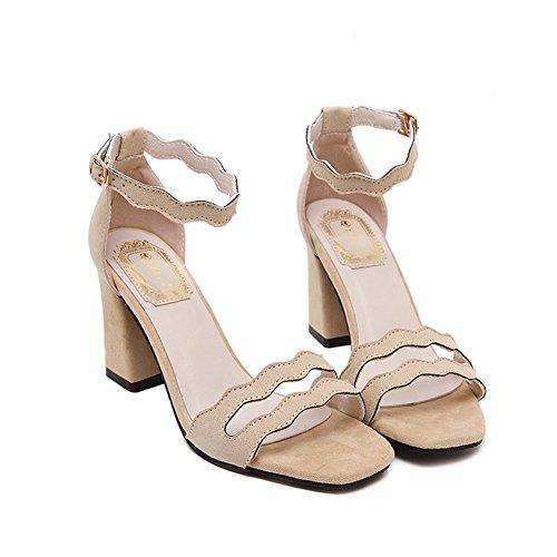 Scarpe da Donna Comode Sandali Donna con Tacc Accocinturino alla Caviglia Scarpe col Tacco Elegante e Raffinato per Spiaggia di Sabbia Festa Nozze Cocktail Partito Beige