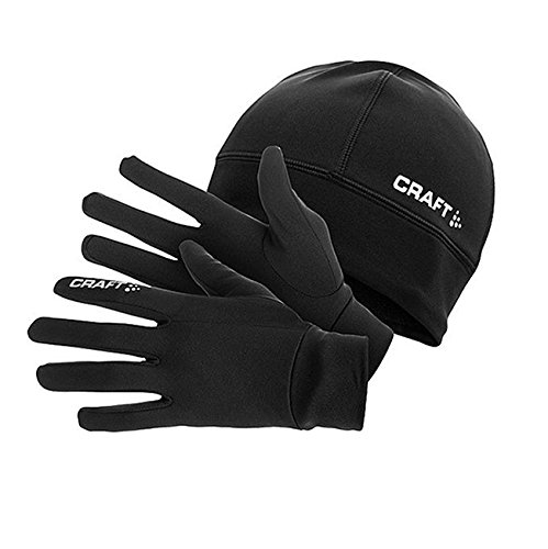 Craft - Set composto da guanti e berretto per allenamento running invernale, idea regalo, nero (nero), L