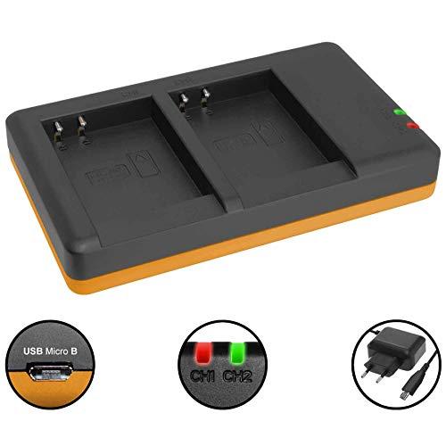 Dual-Ladegerät (Netz, USB) für EN-EL23 / Nikon Coolpix B700, P600, P610, P900, S810c - inkl. 2A Netzteil (2 Akkus gleichzeitig ladbar)