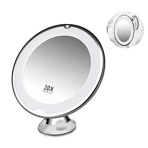 E-More Espejo de Maquillaje con Luz LED Naturales y Aumento de 10x, Espejo Ventosa con 360 Rotación...