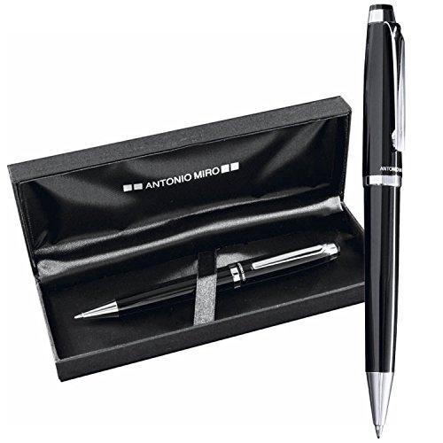 ANTONIO MIRO Klassische Metallische Kugelschreiber mit Jumbo-Patronen - Etui mit gedrucktem Logo - ideal als Geschenk - Zufriedenheit garantiert!