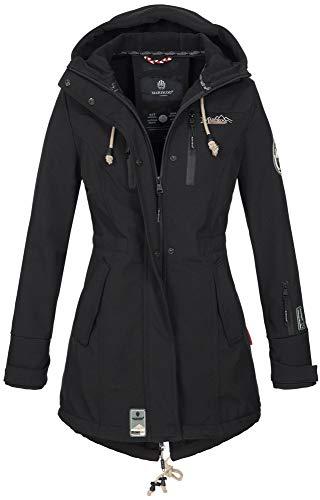 Marikoo Damen Winter Jacke Winterjacke Mantel Outdoor wasserabweisend Softshell B614 [B614-Zimt-Schwarz-Gr.L]