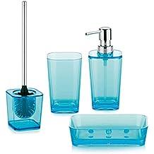kela 390055 Kristall - Juego de accesorios para baño (4 piezas, poliestireno y plástico