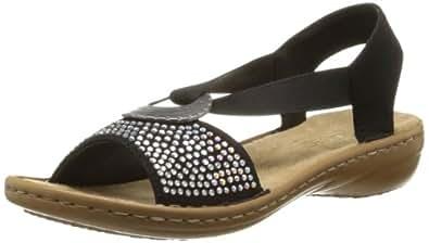 rieker 608y4 damen sandalen schwarz schwarz 00 eu 36 schuhe handtaschen. Black Bedroom Furniture Sets. Home Design Ideas