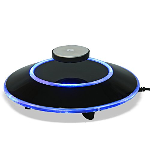 zjchao Magnetische Levitationsplattform, LED Maglev Rotating Ion Revolution Platform Display Showcase Geschenk mit EZ Float Technologie für Home Office Dekoration (Schwarz)