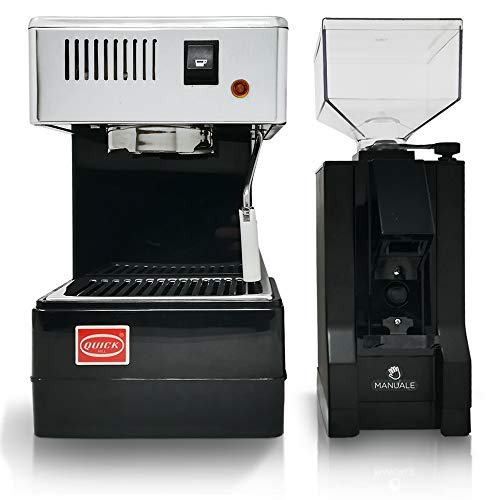 LA GONDOLA Combo Set Espressomaschine Quick Mill 0820 in schwarz und Kaffeemühle Eureka Made In Italy