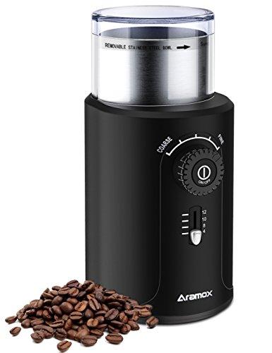 Kaffeemühle Elektrische,Elektrische Kaffeemühle Edelstahl MKM5420 Schlagmesser-Kaffeemühle Schwarz für Kaffeebohnen, Nüsse, Gewürze, Pfeffermühle, Edelstahl Klingen, 200W, 70g max 12 Tassen