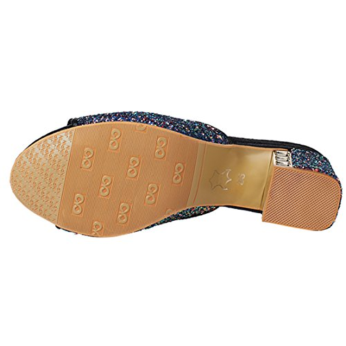 AIYOUMEI Damen Glitzer Peep Toe Blockabsatz Pantoletten mit Schleife und 5cm Absatz Bequem Modern Sandalen Schwarz
