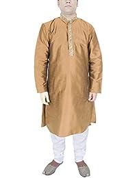 Camisa india, pantalón, color marrón, manga larga, seda, vestidos tallas grandes hombre