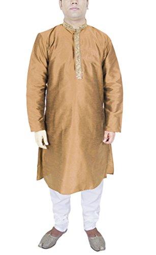 Kurta Indische Männer Pyjama Hochzeitskleid Pyjama Braun Langarm-Shirt Tragen Ethnische-m