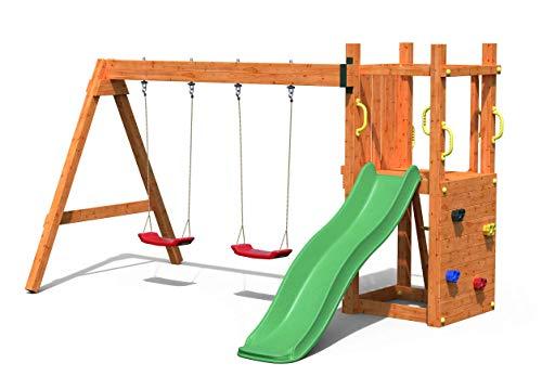 Spielturm Leon Teak mit Schaukeln/grüner Rutsche | Garten Kletterturm | Spielplatz | Klettergerüst | Spielgerät | Teak lackiertes Holzm Leon Teak mit Schaukeln/grüner Rutsche, GL-018