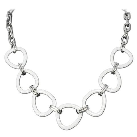 Amello bijoux en acier inoxydable - Amello collier en céramique triangle blanc - collier en acier inoxydable pour femmes - ESKX07W