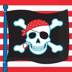 KULTFAKTOR GmbH Piraten Party Servietten 16 Stück Schwarz-Rot-Weiss 16,5x16,5cm Einheitsgröße