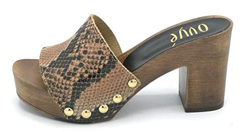 OVYE SS7065 Sandalo Legno Pelle Pitonato Tacco 9 cm - Taglia Scarpa 38 Colore Pitone