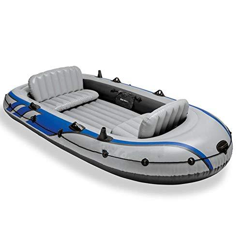Kanqingqing Kajak 4 Personen Gummi Rudern Fischerboot Verdickung erhöhen Gray Drifter Vier-Personen-Schlauchboot (Farbe : Grau, Größe : 315×165×43CM)