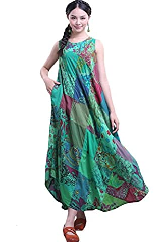 Vogstyle Women's Summer Patchwork Cotton Vest Sunress Green M