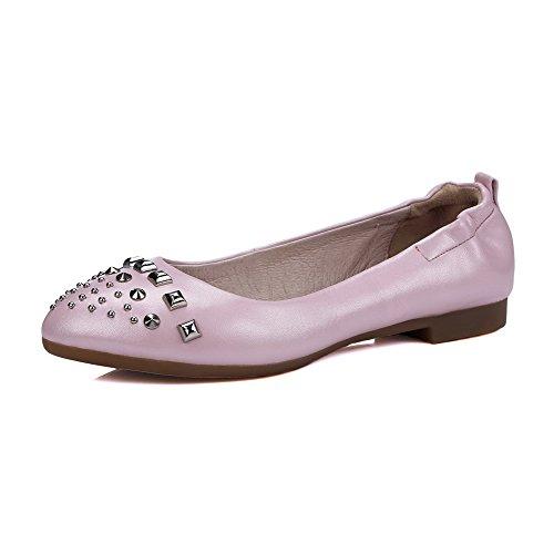 Eingelegt Voguezone009 Auf Leder Ziehen Schuhe Flache Zehe Damen Pink Pu Rund Niedriger Absatz qErXftr