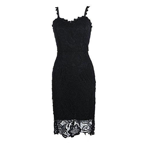 La Cabina Femme Sexy Mini Robe Sans Manches + Dentelle Bustier Suspendue pour Soirée Cérémonie Mariage et Soirée Cocktail Quotidien … noir 01