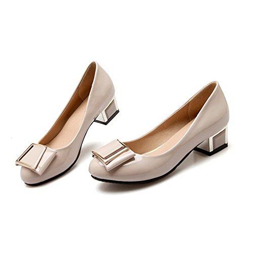 VogueZone009 Femme Tire à Talon Bas Verni Rond Chaussures Légeres Beige