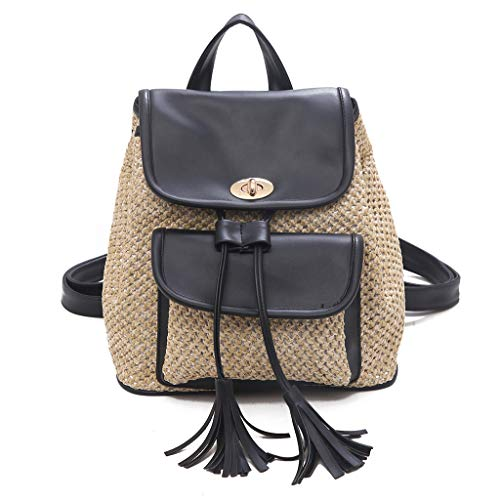 Guess Top Zip Tote (Mini Backpack with Multiple Zips at The Top and Tassel Accents ☆Elecenty☆ Damenmode Wild Solid Weaving Rucksack Damenrucksack)