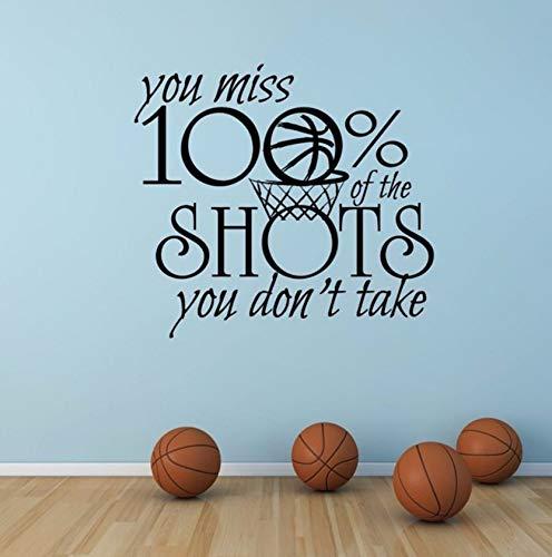 (Dalxsh Motivation Sport Zitat Wandtattoo Basketball Sport Zeichen Wandaufkleber Sie Vermissen Aufnahmen, Die Sie Nicht Vinylwand Kunst 57X52Cm Nehmen)